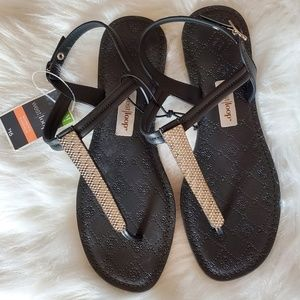 NWT Black flip flops with silver details
